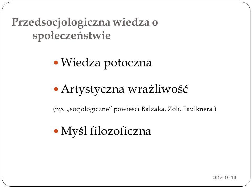 """Przedsocjologiczna wiedza o społeczeństwie Wiedza potoczna Artystyczna wrażliwość (np. """"socjologiczne"""" powieści Balzaka, Zoli, Faulknera ) Myśl filozo"""