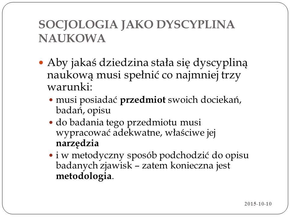 SOCJOLOGIA JAKO DYSCYPLINA NAUKOWA Aby jakaś dziedzina stała się dyscypliną naukową musi spełnić co najmniej trzy warunki: musi posiadać przedmiot swo