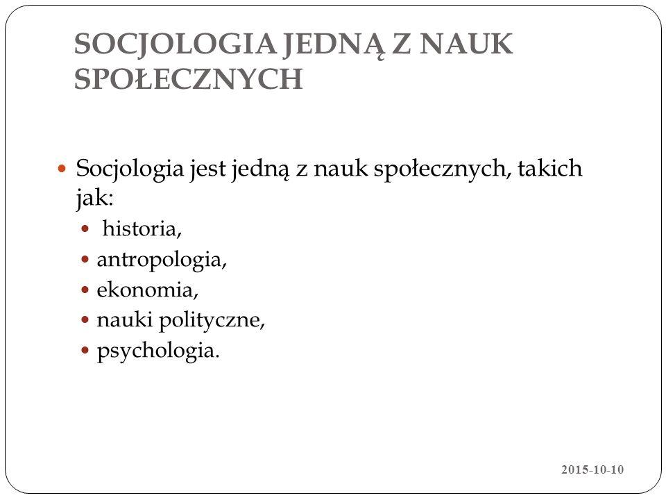 SOCJOLOGIA JEDNĄ Z NAUK SPOŁECZNYCH Socjologia jest jedną z nauk społecznych, takich jak: historia, antropologia, ekonomia, nauki polityczne, psycholo