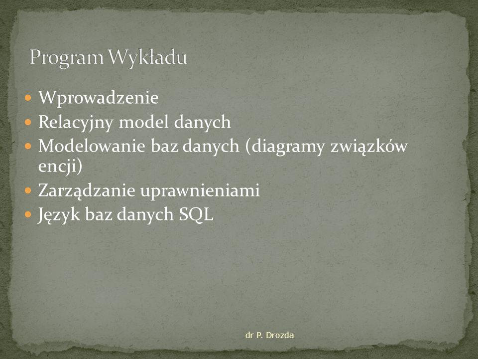 Wprowadzenie Relacyjny model danych Modelowanie baz danych (diagramy związków encji) Zarządzanie uprawnieniami Język baz danych SQL dr P. Drozda