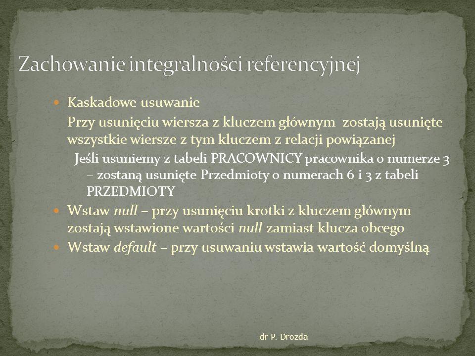 dr P. Drozda Kaskadowe usuwanie Przy usunięciu wiersza z kluczem głównym zostają usunięte wszystkie wiersze z tym kluczem z relacji powiązanej Jeśli u