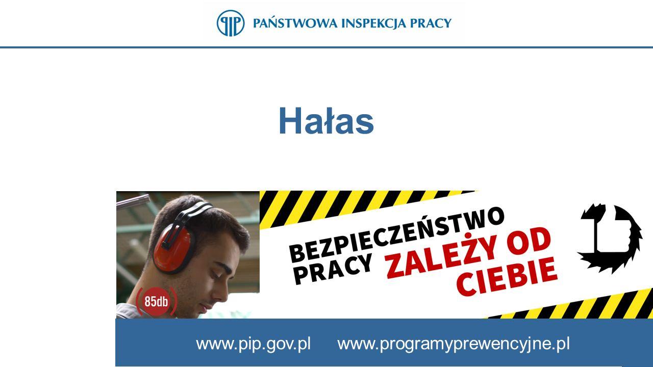 www.pip.gov.pl Dopuszczalne wartości hałasu  poziom ekspozycji na hałas odniesiony do 8-godzinnego dobowego wymiaru czasu pracy (L EX,8h ) nie powinien przekraczać 85 dB,  maksymalny poziom dźwięku A (L Amax ) nie powinien przekraczać 115 dB,  szczytowy poziom dźwięku C (L Cpeak ) nie powinien przekraczać 135 dB.