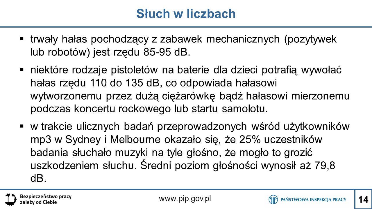 www.pip.gov.pl Słuch w liczbach  trwały hałas pochodzący z zabawek mechanicznych (pozytywek lub robotów) jest rzędu 85-95 dB.  niektóre rodzaje pist