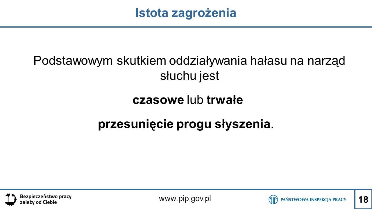 www.pip.gov.pl Istota zagrożenia Podstawowym skutkiem oddziaływania hałasu na narząd słuchu jest czasowe lub trwałe przesunięcie progu słyszenia. 18