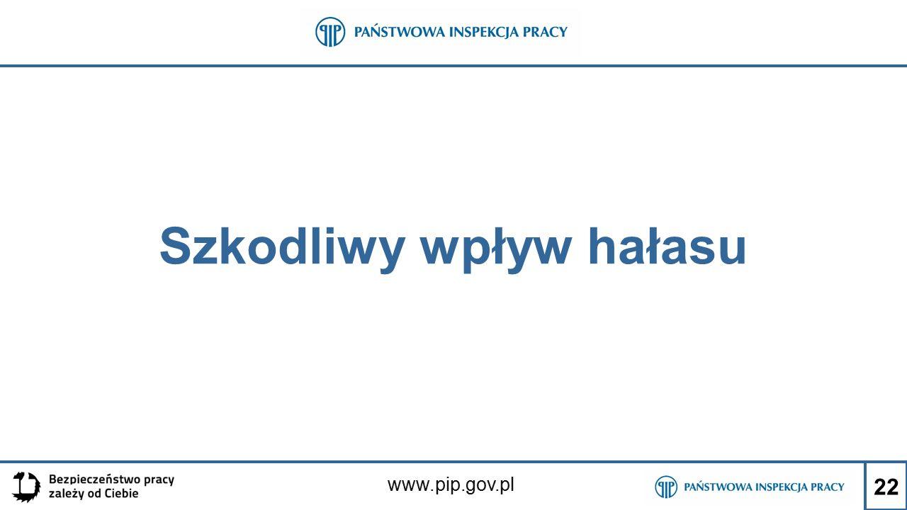 www.pip.gov.pl Szkodliwy wpływ hałasu 22