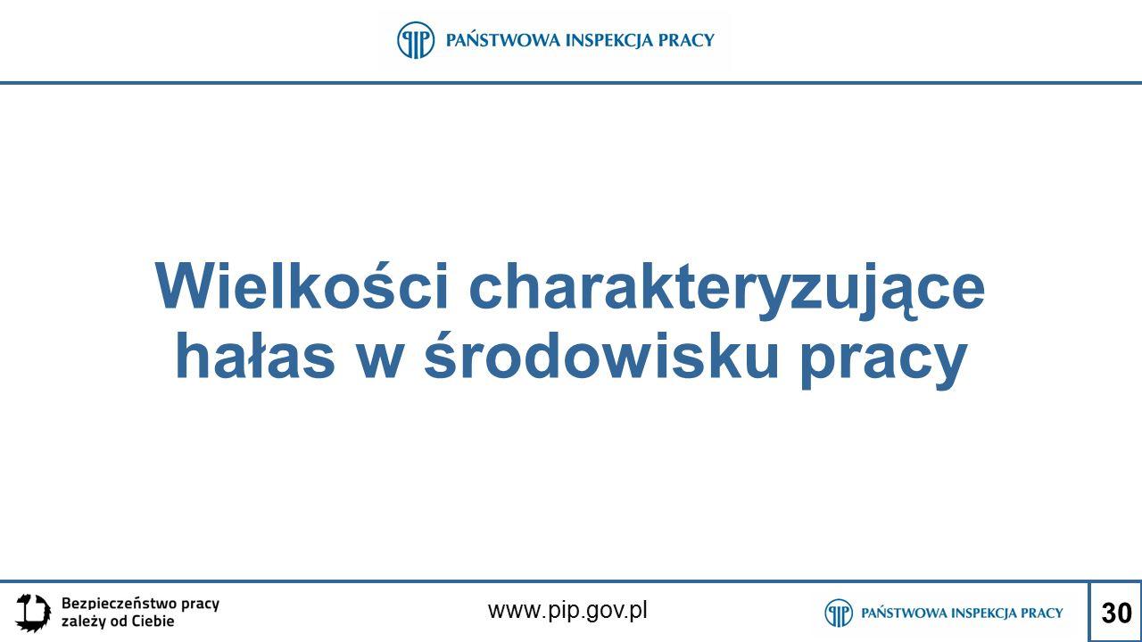 www.pip.gov.pl Wielkości charakteryzujące hałas w środowisku pracy 30