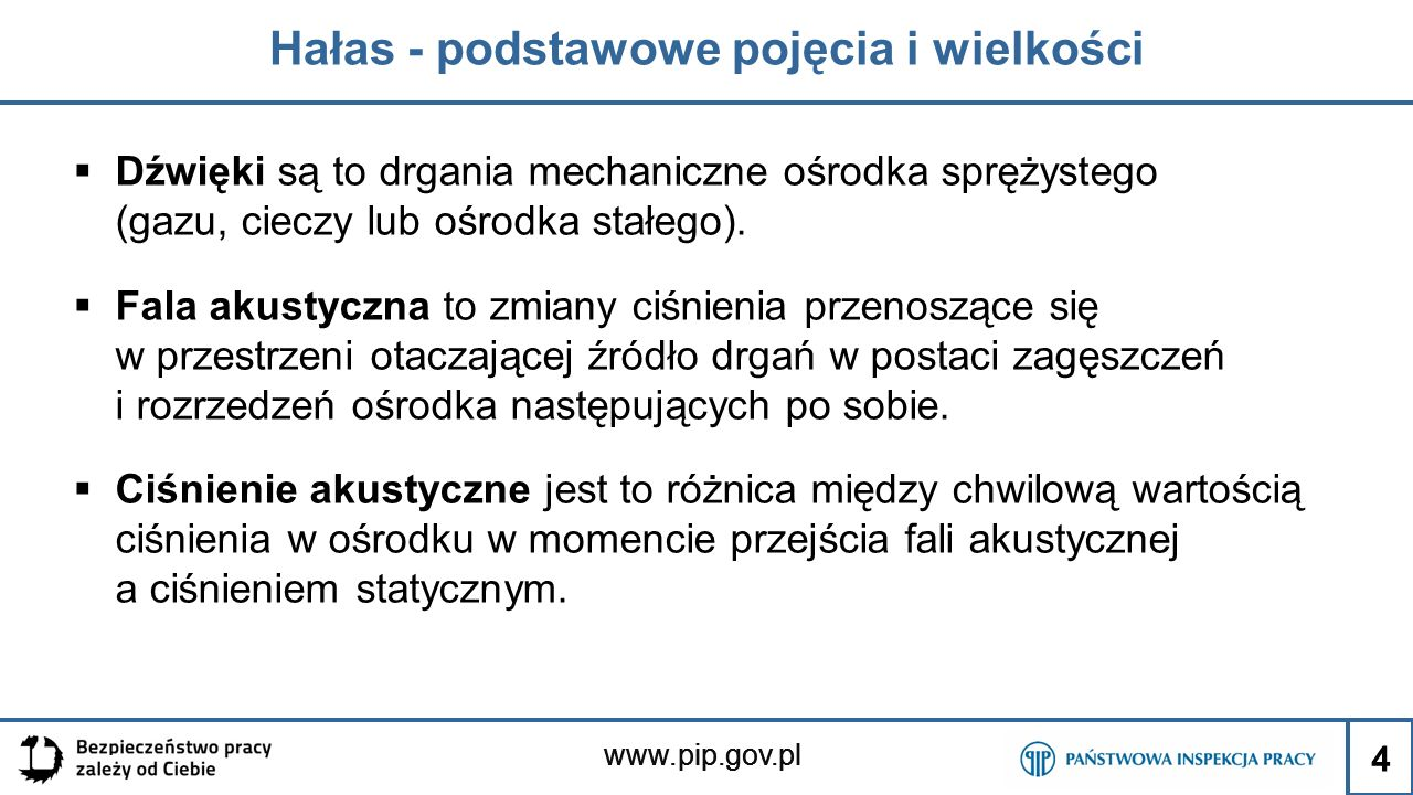 www.pip.gov.pl Hałas - podstawowe pojęcia i wielkości  Dźwięki są to drgania mechaniczne ośrodka sprężystego (gazu, cieczy lub ośrodka stałego).  Fa
