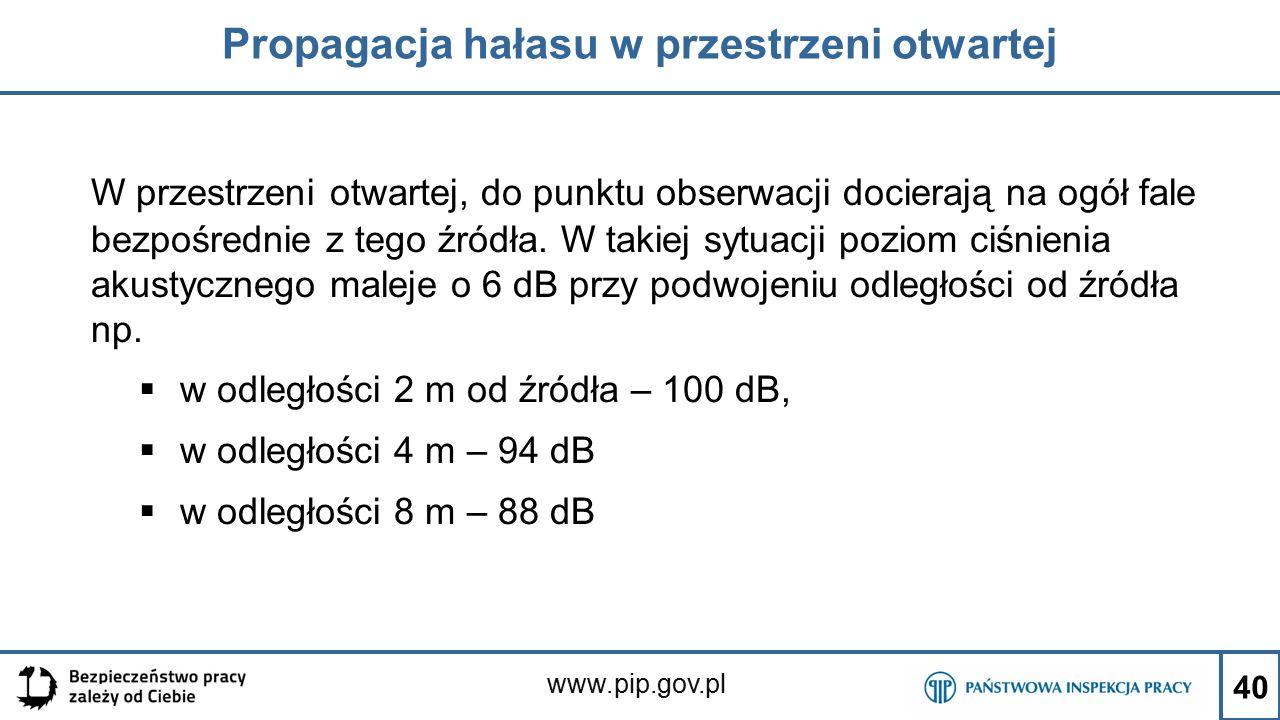 www.pip.gov.pl Propagacja hałasu w przestrzeni otwartej W przestrzeni otwartej, do punktu obserwacji docierają na ogół fale bezpośrednie z tego źródła