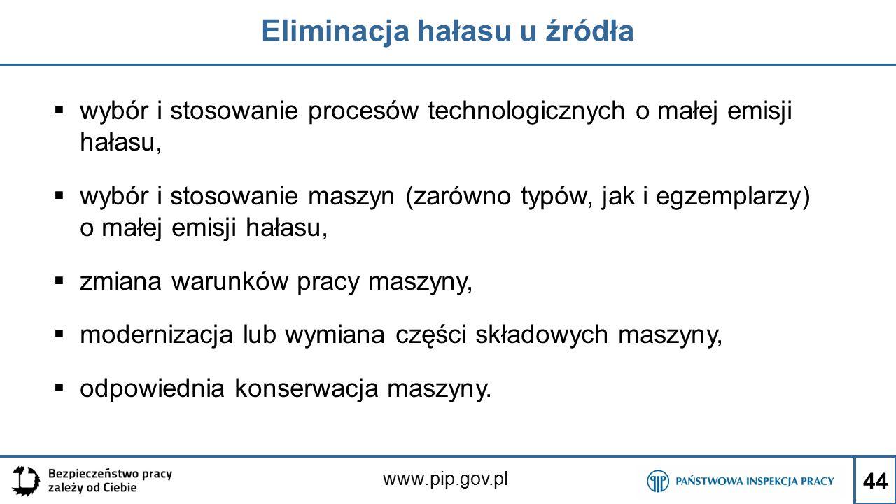 www.pip.gov.pl Eliminacja hałasu u źródła  wybór i stosowanie procesów technologicznych o małej emisji hałasu,  wybór i stosowanie maszyn (zarówno t