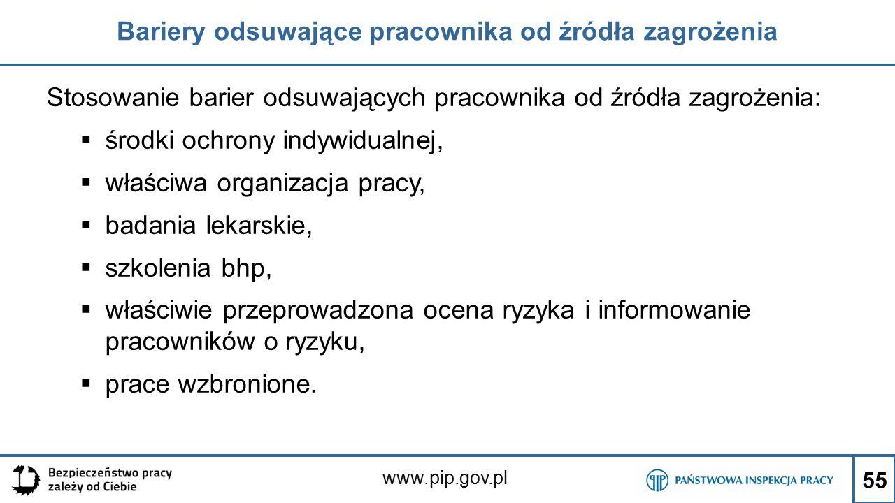 www.pip.gov.pl Bariery odsuwające pracownika od źródła zagrożenia Stosowanie barier odsuwających pracownika od źródła zagrożenia:  środki ochrony ind