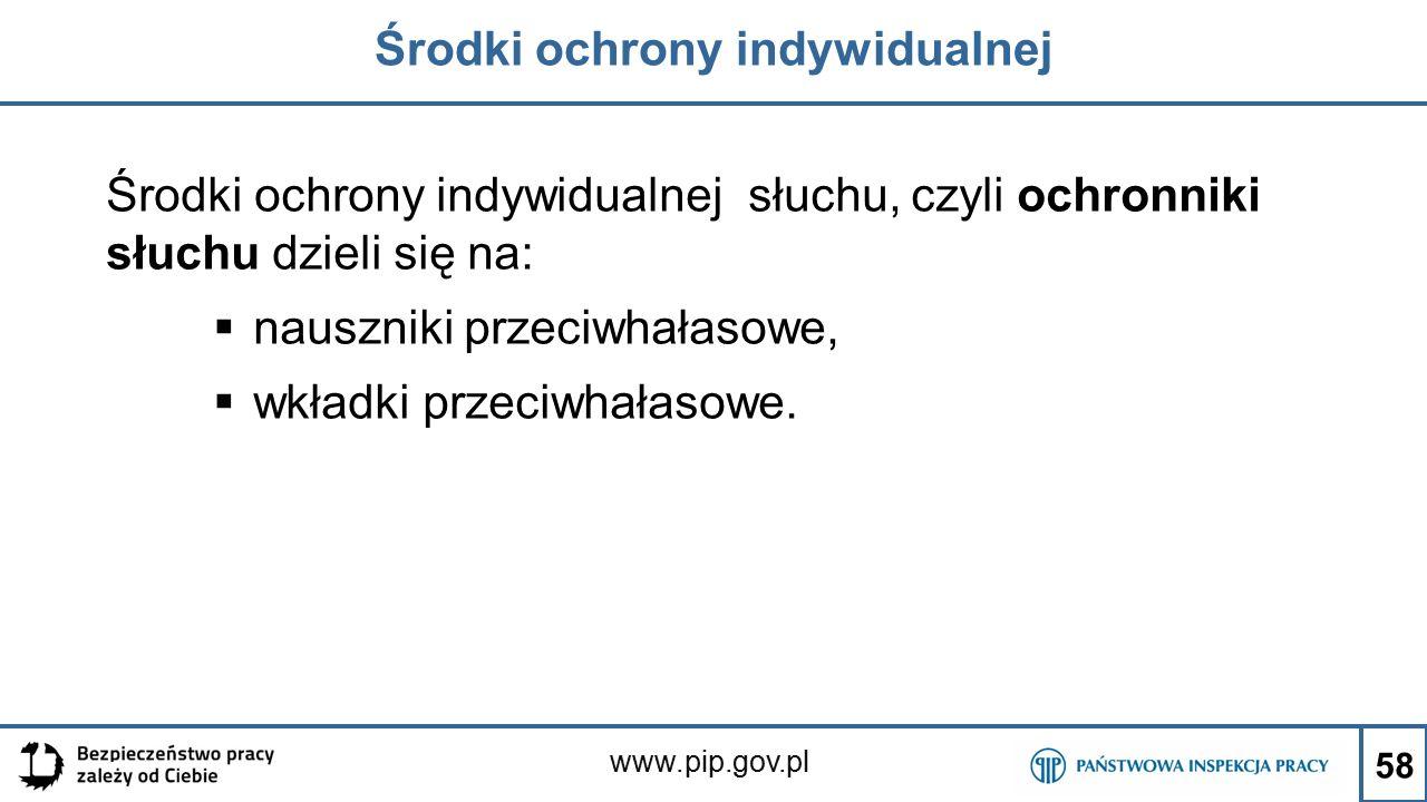 www.pip.gov.pl Środki ochrony indywidualnej Środki ochrony indywidualnej słuchu, czyli ochronniki słuchu dzieli się na:  nauszniki przeciwhałasowe,  wkładki przeciwhałasowe.