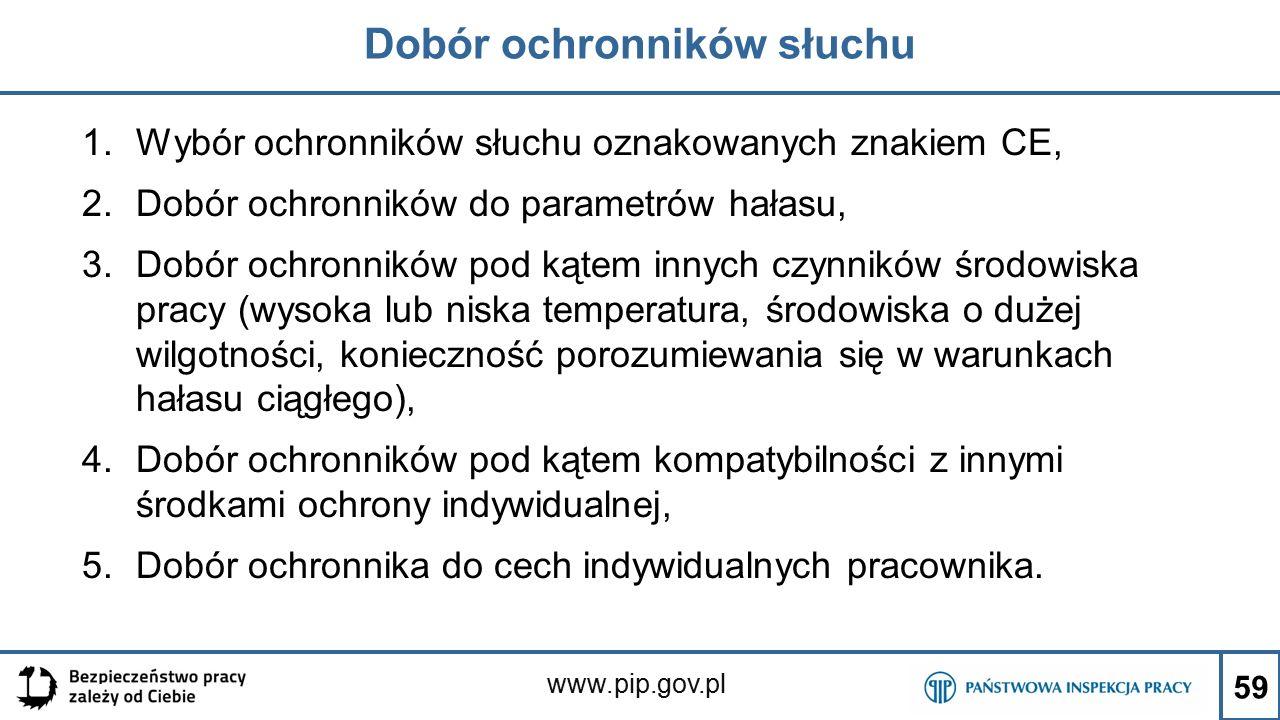www.pip.gov.pl Dobór ochronników słuchu 1.Wybór ochronników słuchu oznakowanych znakiem CE, 2.Dobór ochronników do parametrów hałasu, 3.Dobór ochronni
