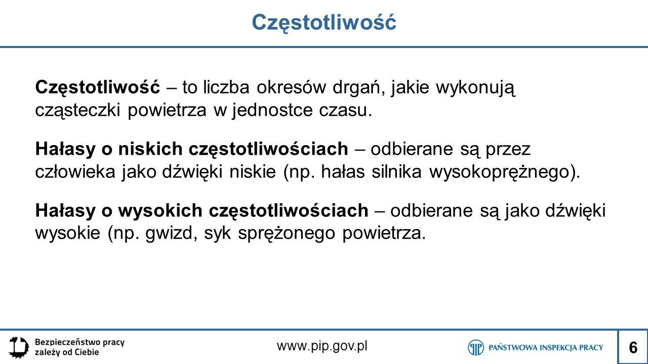 www.pip.gov.pl Częstotliwość Częstotliwość – to liczba okresów drgań, jakie wykonują cząsteczki powietrza w jednostce czasu. Hałasy o niskich częstotl