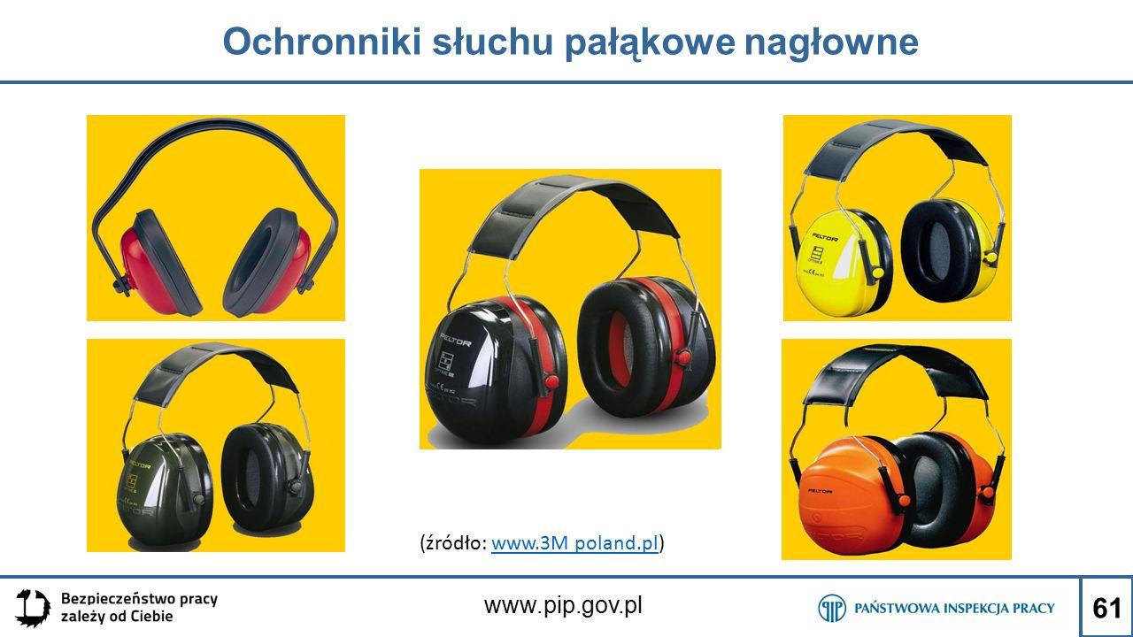 www.pip.gov.pl Ochronniki słuchu pałąkowe nagłowne (źródło: www.3M poland.pl)www.3M poland.pl 61