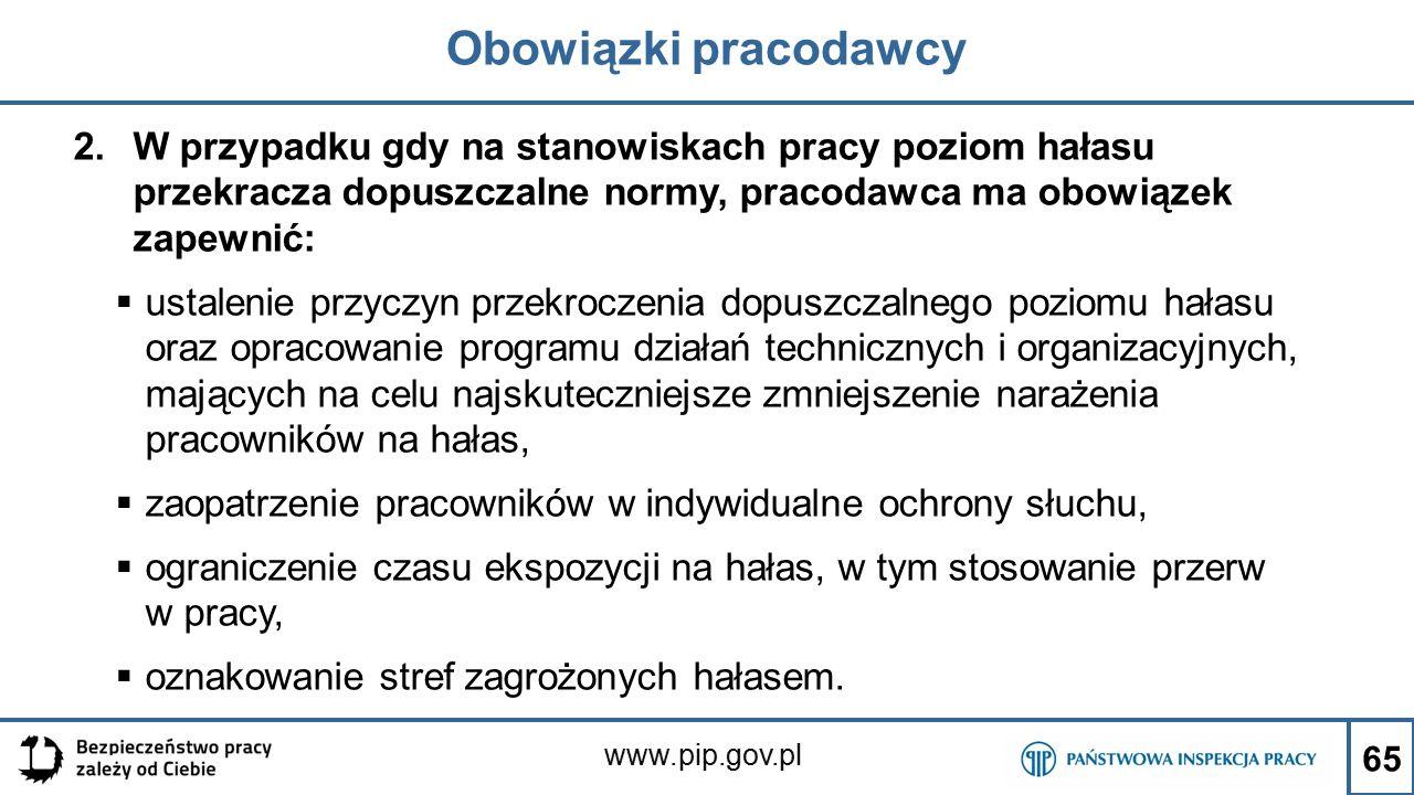 www.pip.gov.pl Obowiązki pracodawcy 2.W przypadku gdy na stanowiskach pracy poziom hałasu przekracza dopuszczalne normy, pracodawca ma obowiązek zapew