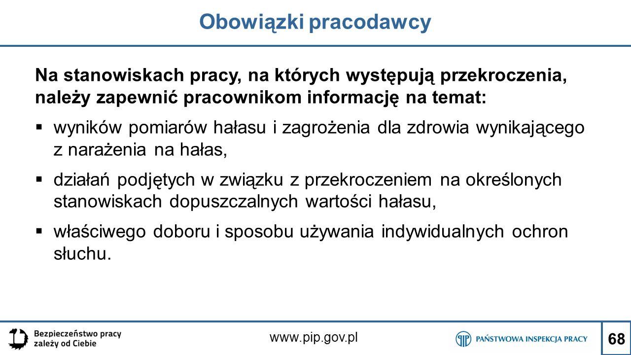 www.pip.gov.pl Obowiązki pracodawcy Na stanowiskach pracy, na których występują przekroczenia, należy zapewnić pracownikom informację na temat:  wyni