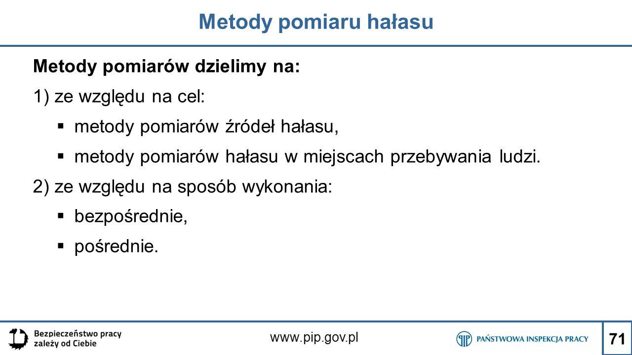 www.pip.gov.pl Metody pomiaru hałasu Metody pomiarów dzielimy na: 1) ze względu na cel:  metody pomiarów źródeł hałasu,  metody pomiarów hałasu w mi