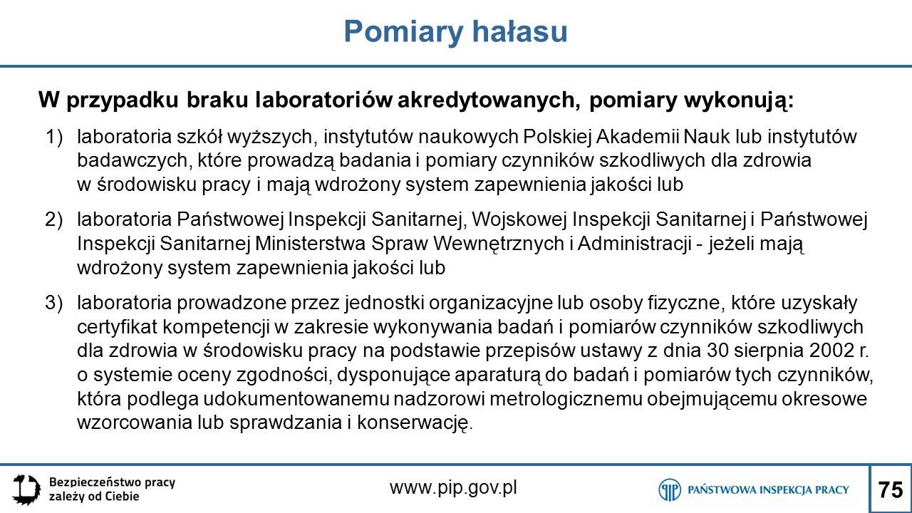 www.pip.gov.pl Pomiary hałasu W przypadku braku laboratoriów akredytowanych, pomiary wykonują: 1)laboratoria szkół wyższych, instytutów naukowych Pols