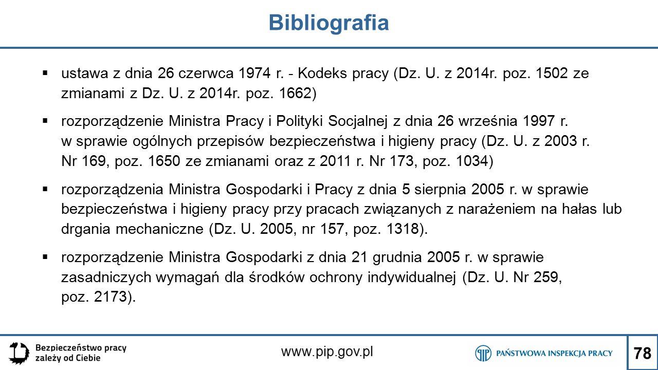 www.pip.gov.pl Bibliografia  ustawa z dnia 26 czerwca 1974 r. - Kodeks pracy (Dz. U. z 2014r. poz. 1502 ze zmianami z Dz. U. z 2014r. poz. 1662)  ro