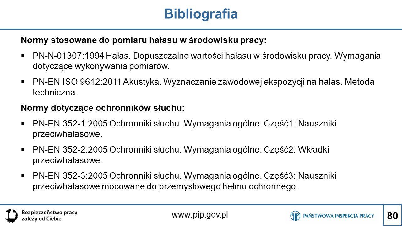 www.pip.gov.pl Bibliografia Normy stosowane do pomiaru hałasu w środowisku pracy:  PN-N-01307:1994 Hałas. Dopuszczalne wartości hałasu w środowisku p