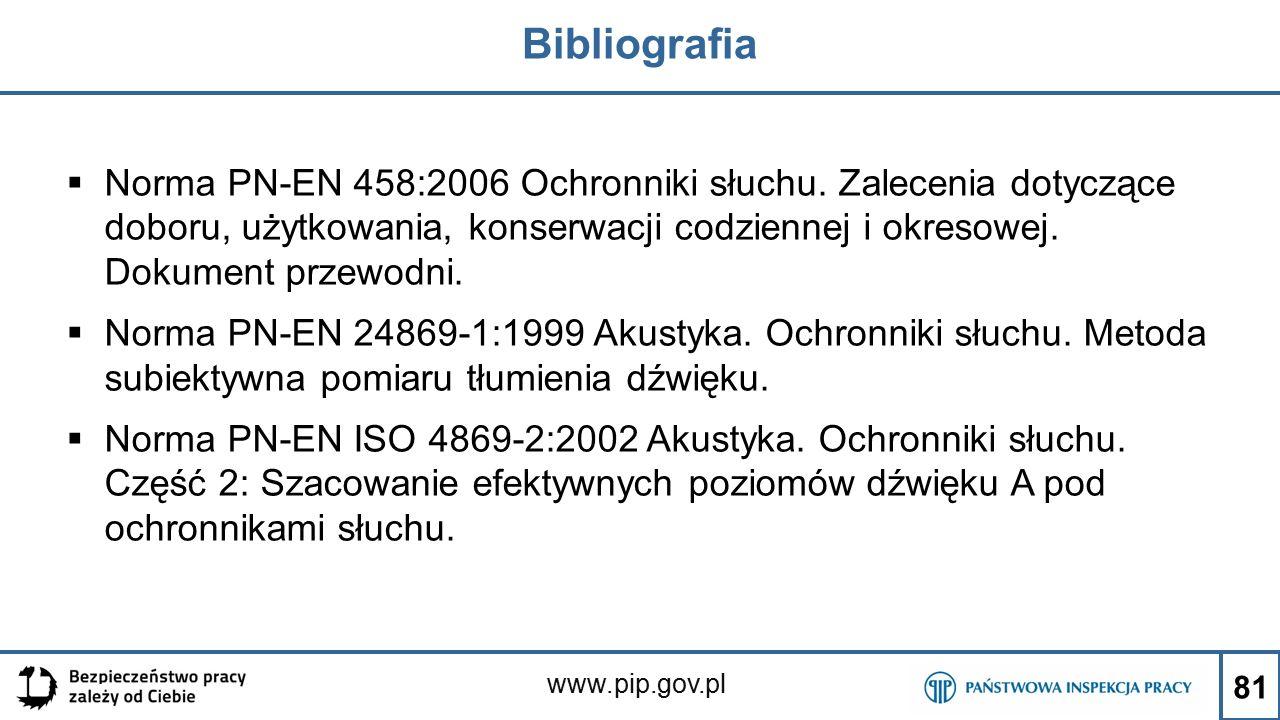 www.pip.gov.pl Bibliografia  Norma PN-EN 458:2006 Ochronniki słuchu. Zalecenia dotyczące doboru, użytkowania, konserwacji codziennej i okresowej. Dok