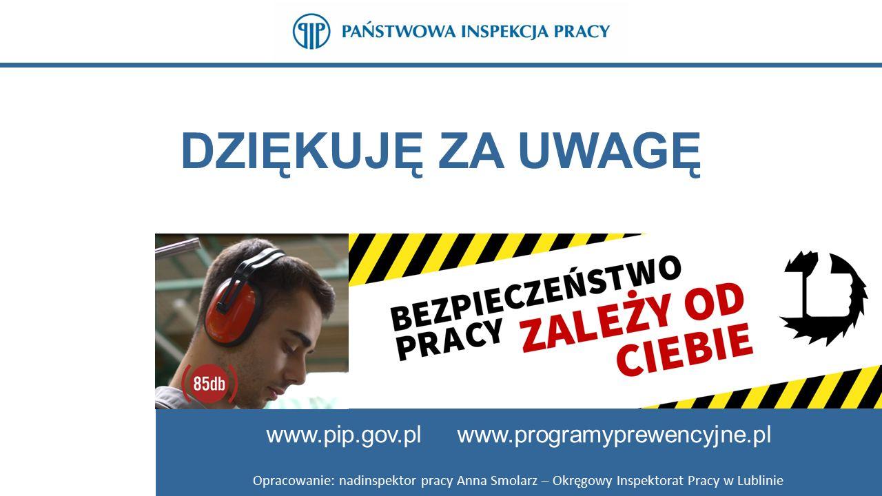 www.pip.gov.pl www.programyprewencyjne.pl DZIĘKUJĘ ZA UWAGĘ www.pip.gov.pl www.programyprewencyjne.pl Opracowanie: nadinspektor pracy Anna Smolarz – Okręgowy Inspektorat Pracy w Lublinie