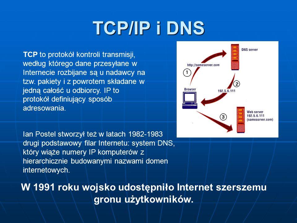 TCP/IP i DNS TCP to protokół kontroli transmisji, według którego dane przesyłane w Internecie rozbijane są u nadawcy na tzw. pakiety i z powrotem skła