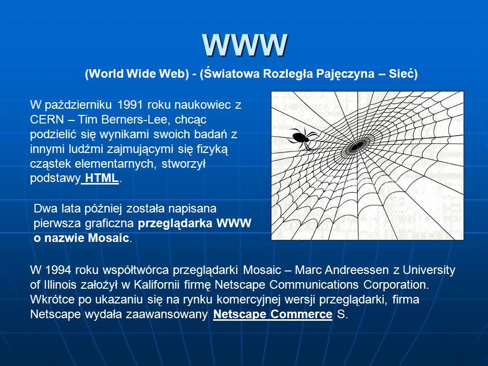 WWW (World Wide Web) - (Światowa Rozległa Pajęczyna – Sieć) W październiku 1991 roku naukowiec z CERN – Tim Berners-Lee, chcąc podzielić się wynikami