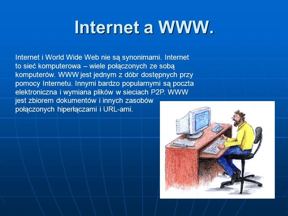 Internet a WWW. Internet i World Wide Web nie są synonimami. Internet to sieć komputerowa – wiele połączonych ze sobą komputerów. WWW jest jednym z dó