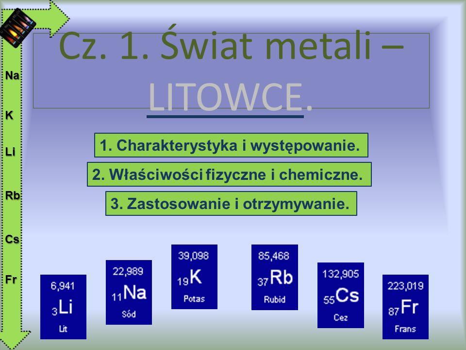 Do litowców (grupa 1 układu okresowego pierwiastków) należą następujące pierwiastki: lit (Li), sód (Na), potas (K), rubid (Rb), cez (Cs) oraz nietrwały promieniotwórczy frans (Fr).
