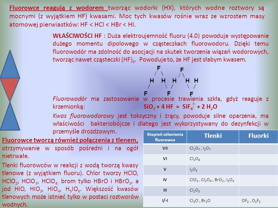 Moc kwasów tlenowych rośnie wraz ze wzrostem liczby atomów tlenu w cząsteczce i maleje w miarę wzrostu liczby atomowej fluorowca.
