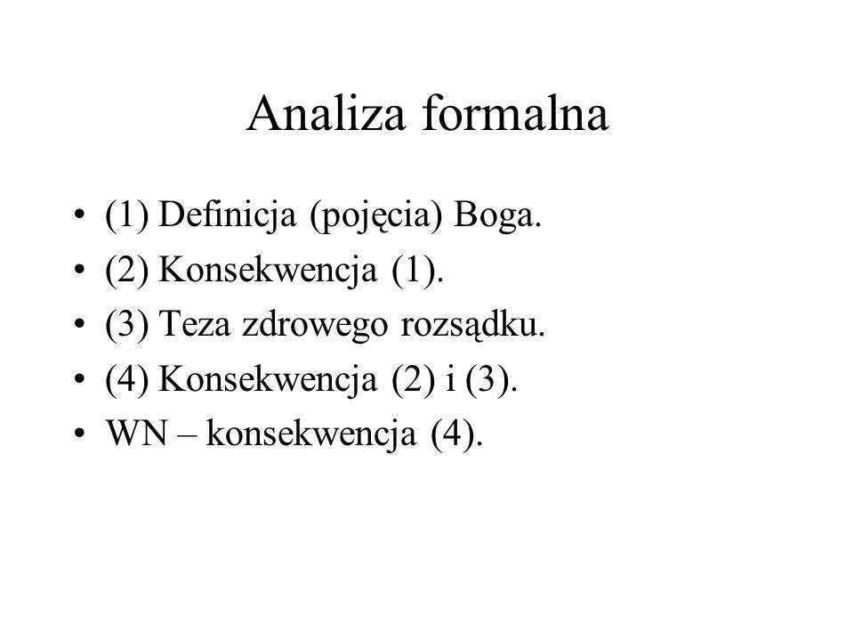 Analiza formalna (1) Definicja (pojęcia) Boga. (2) Konsekwencja (1). (3) Teza zdrowego rozsądku. (4) Konsekwencja (2) i (3). WN – konsekwencja (4).