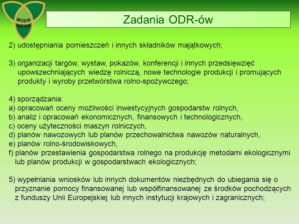 Zadania ODR-ów 2) udostępniania pomieszczeń i innych składników majątkowych; 3) organizacji targów, wystaw, pokazów, konferencji i innych przedsięwzięć upowszechniających wiedzę rolniczą, nowe technologie produkcji i promujących produkty i wyroby przetwórstwa rolno-spożywczego; 4) sporządzania: a) opracowań oceny możliwości inwestycyjnych gospodarstw rolnych, b) analiz i opracowań ekonomicznych, finansowych i technologicznych, c) oceny użyteczności maszyn rolniczych, d) planów nawozowych lub planów przechowalnictwa nawozów naturalnych, e) planów rolno-środowiskowych, f) planów przestawienia gospodarstwa rolnego na produkcję metodami ekologicznymi lub planów produkcji w gospodarstwach ekologicznych; 5) wypełniania wniosków lub innych dokumentów niezbędnych do ubiegania się o przyznanie pomocy finansowanej lub współfinansowanej ze środków pochodzących z funduszy Unii Europejskiej lub innych instytucji krajowych i zagranicznych;