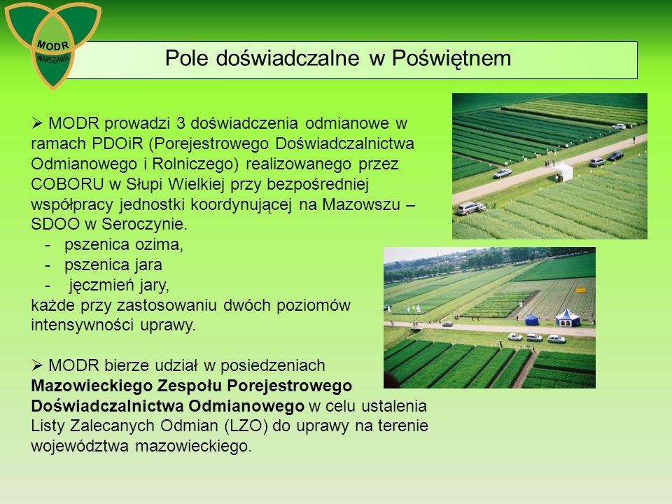 Pole doświadczalne w Poświętnem  MODR prowadzi 3 doświadczenia odmianowe w ramach PDOiR (Porejestrowego Doświadczalnictwa Odmianowego i Rolniczego) realizowanego przez COBORU w Słupi Wielkiej przy bezpośredniej współpracy jednostki koordynującej na Mazowszu – SDOO w Seroczynie.