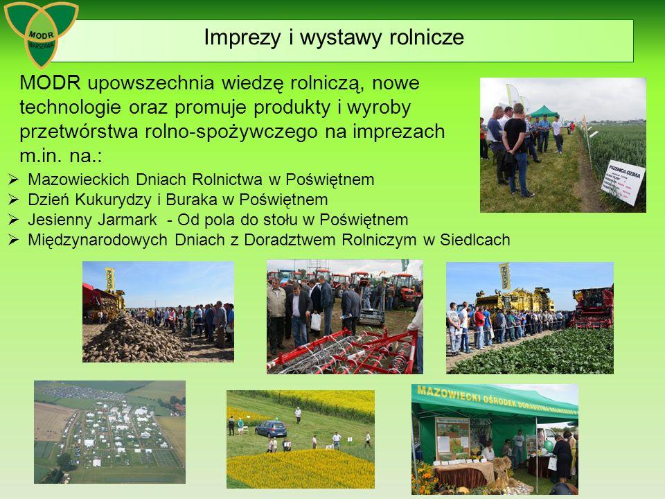  Mazowieckich Dniach Rolnictwa w Poświętnem  Dzień Kukurydzy i Buraka w Poświętnem  Jesienny Jarmark - Od pola do stołu w Poświętnem  Międzynarodowych Dniach z Doradztwem Rolniczym w Siedlcach Imprezy i wystawy rolnicze MODR upowszechnia wiedzę rolniczą, nowe technologie oraz promuje produkty i wyroby przetwórstwa rolno-spożywczego na imprezach m.in.