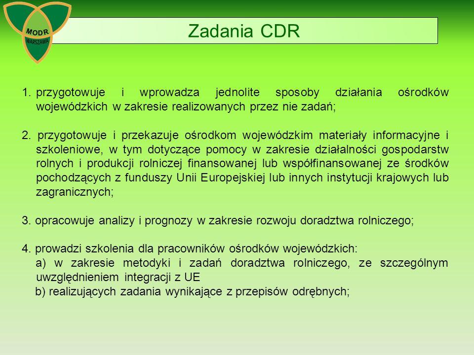 Zadania CDR 1.przygotowuje i wprowadza jednolite sposoby działania ośrodków wojewódzkich w zakresie realizowanych przez nie zadań; 2.