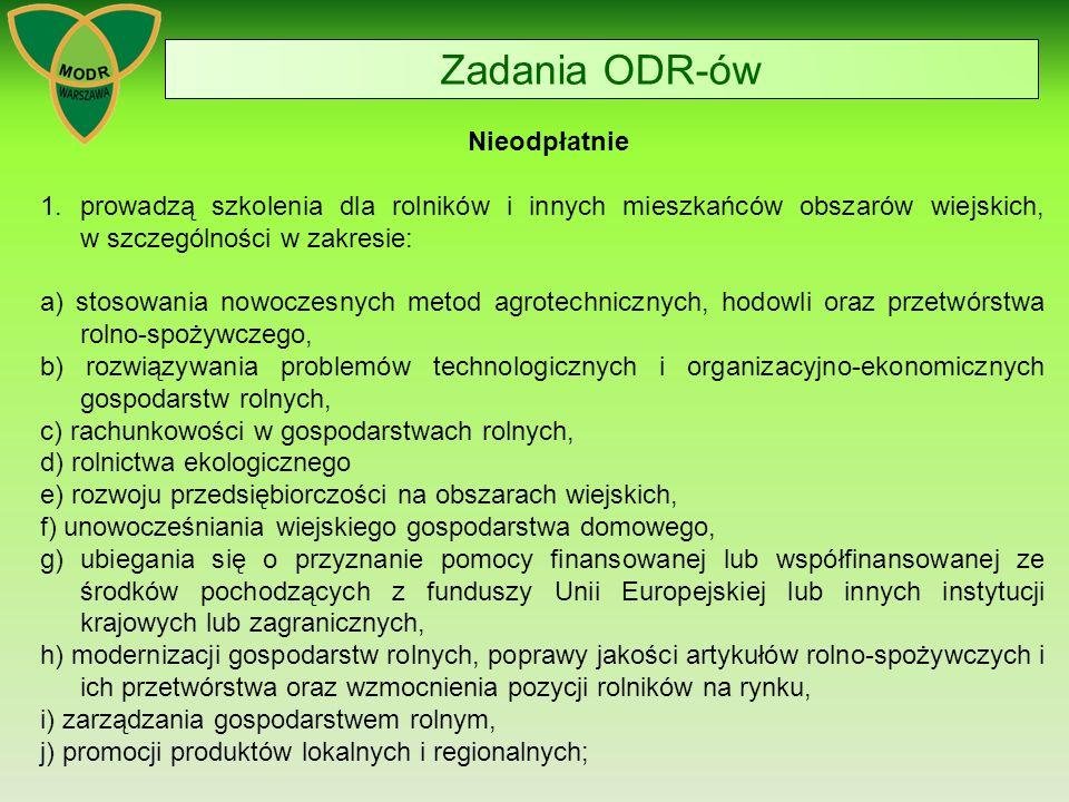 Zadania ODR-ów 2.prowadzą działalność informacyjną wspierającą rozwój produkcji rolniczej; 3.