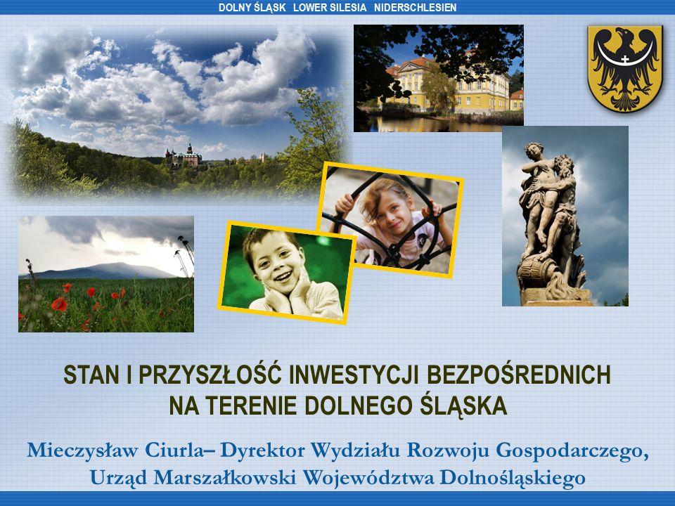 NOWE I PLANOWANE INWESTYCJE ZAGRANICZNE NA DOLNYM ŚLĄSKU (2007/2008) FirmaKraj pochodzeniaSektorLokalizacjaWartość inwestycji (mln EUR) Ilość miejsc pracy ToyotaJaponiamotoryzacyjnyWałbrzych134255 ToshibaJaponiaelektronicznyKobierzyce42,81006 Park Technologiczny LG Koreaelektroniczny, AGD Biskupice Podgórne 80012 000 Elica Group Polska WłochyAGDJelcz- Laskowice 11160 CadburyWielka BrytaniaspożywczyBielany Wrocł.