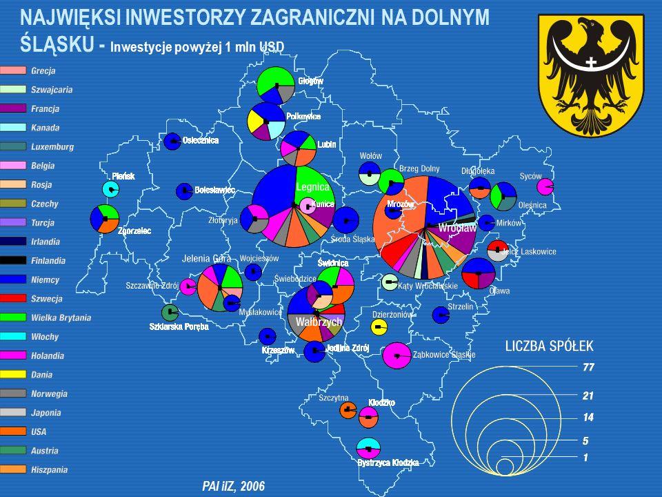 PAI iIZ, 2006 NAJWIĘKSI INWESTORZY ZAGRANICZNI NA DOLNYM ŚLĄSKU - Inwestycje powyżej 1 mln USD