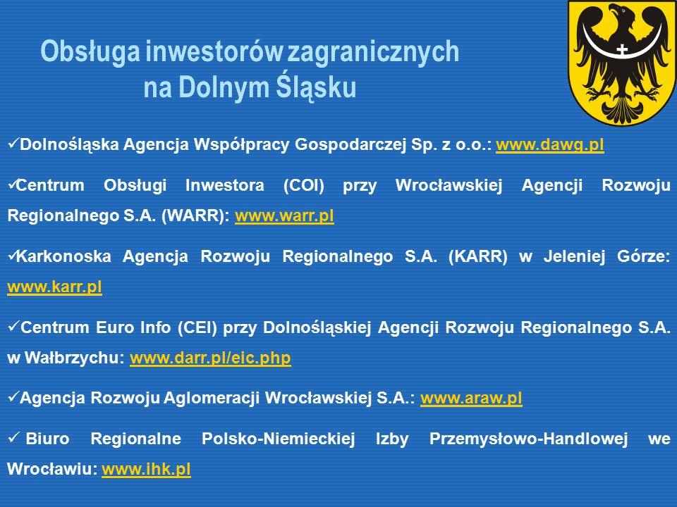 Obsługa inwestorów zagranicznych na Dolnym Śląsku Dolnośląska Agencja Współpracy Gospodarczej Sp. z o.o.: www.dawg.plwww.dawg.pl Centrum Obsługi Inwes