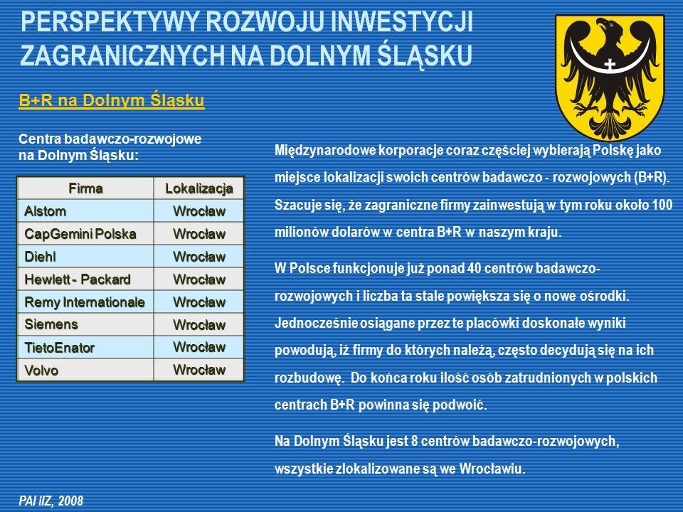 PERSPEKTYWY ROZWOJU INWESTYCJI ZAGRANICZNYCH NA DOLNYM ŚLĄSKU Międzynarodowe korporacje coraz częściej wybierają Polskę jako miejsce lokalizacji swoic