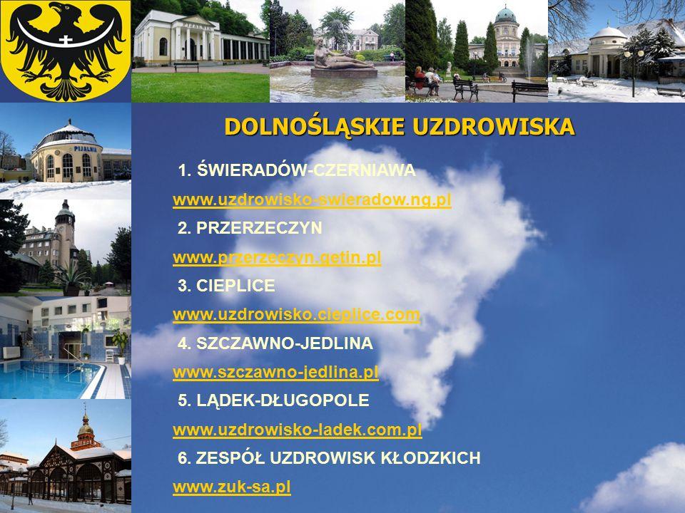 DOLNOŚLĄSKIE UZDROWISKA 1. ŚWIERADÓW-CZERNIAWA www.uzdrowisko-swieradow.ng.pl 2. PRZERZECZYN www.przerzeczyn.getin.pl 3. CIEPLICE www.uzdrowisko.ciepl