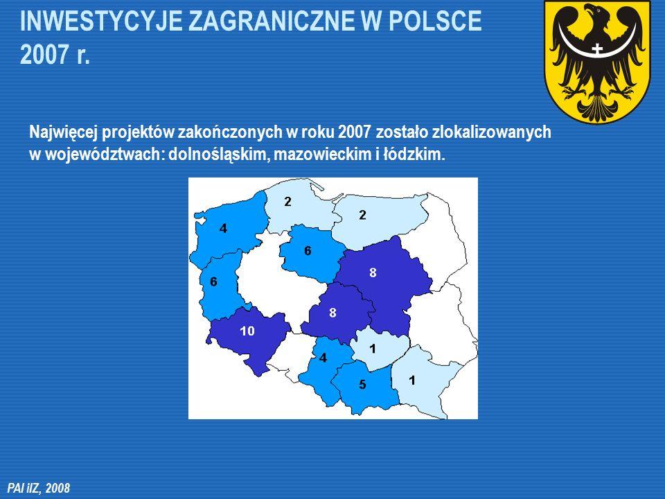 INWESTYCYJE ZAGRANICZNE W POLSCE 2007 r. PAI iIZ, 2008 Najwięcej projektów zakończonych w roku 2007 zostało zlokalizowanych w województwach: dolnośląs