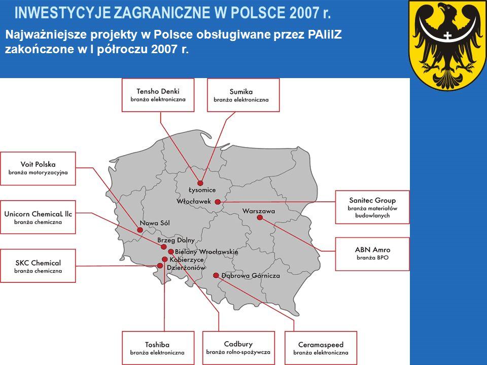INWESTYCYJE ZAGRANICZNE W POLSCE 2007 r. Najważniejsze projekty w Polsce obsługiwane przez PAIiIZ zakończone w I półroczu 2007 r.
