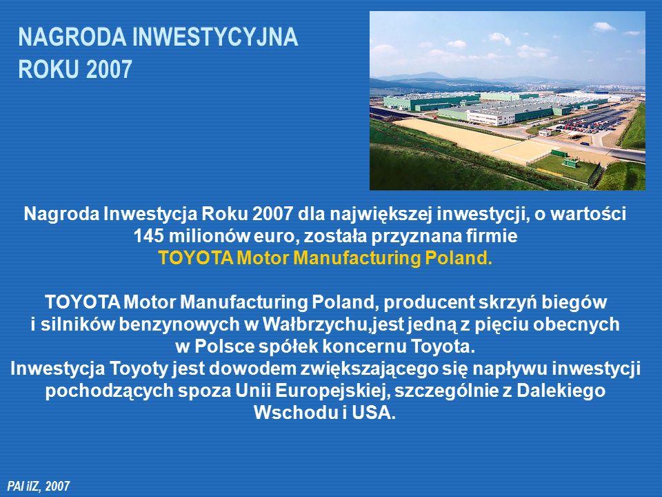 NAGRODA INWESTYCYJNA ROKU 2007 Nagroda Inwestycja Roku 2007 dla największej inwestycji, o wartości 145 milionów euro, została przyznana firmie TOYOTA