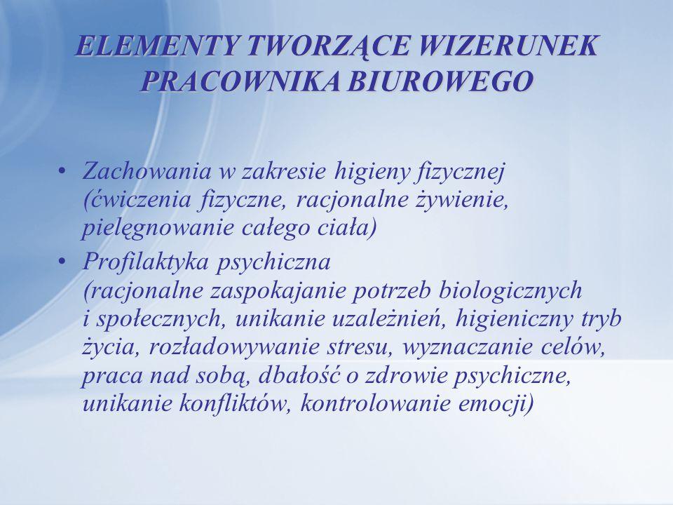ELEMENTY TWORZĄCE WIZERUNEK PRACOWNIKA BIUROWEGO Zachowania w zakresie higieny fizycznej (ćwiczenia fizyczne, racjonalne żywienie, pielęgnowanie całeg