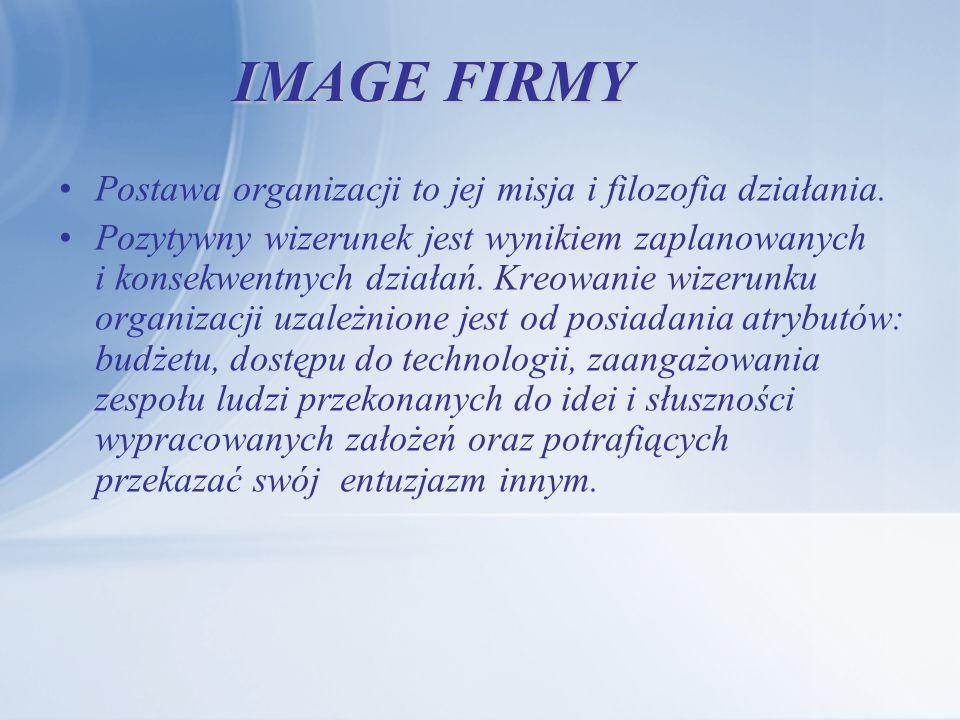 IMAGE FIRMY Postawa organizacji to jej misja i filozofia działania. Pozytywny wizerunek jest wynikiem zaplanowanych i konsekwentnych działań. Kreowani