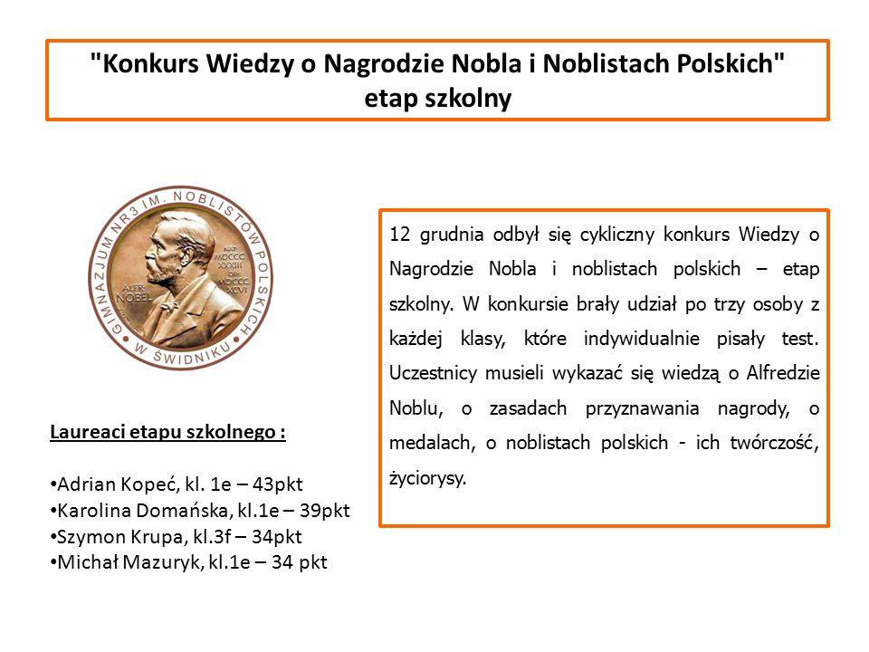 Konkurs Wiedzy o Nagrodzie Nobla i Noblistach Polskich etap szkolny Laureaci etapu szkolnego : Adrian Kopeć, kl.
