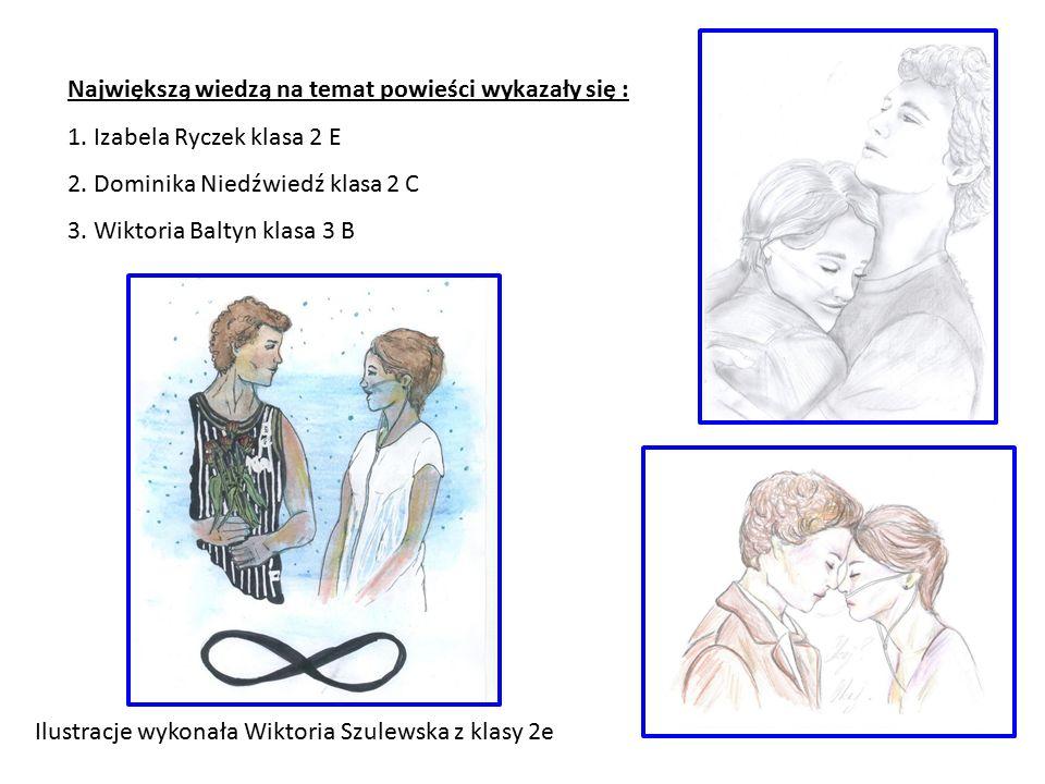 Największą wiedzą na temat powieści wykazały się : 1. Izabela Ryczek klasa 2 E 2. Dominika Niedźwiedź klasa 2 C 3. Wiktoria Baltyn klasa 3 B Ilustracj