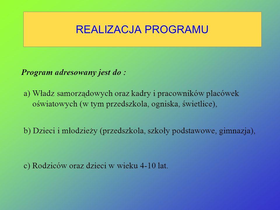 CEL PROGRAMU 1.Przekazanie w różnych formach doświadczeń w zakresie upowszechniania wśród dzieci i młodzieży wiedzy i umiejętności przydatnych w sytuacjach zagrożeń.